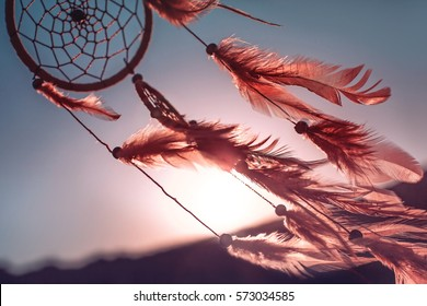 Dreamcatcher sunset , the mountains, boho chic, ethnic amulet,symbol