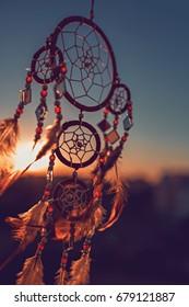 Dreamcatcher sunset , the mountains, boho chic, ethnic amulet,symbol
