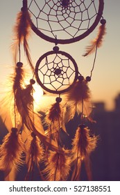 Dreamcatcher sunset , the mountains,contour city. Boho chic, ethnic amulet,symbol