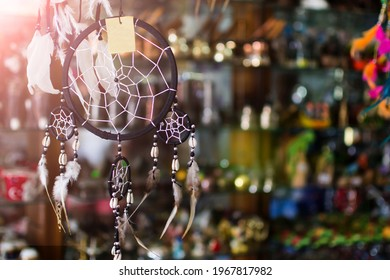 Dreamcatchers in a market stall. colorful dream catcher hung from the ceiling in the gift shop