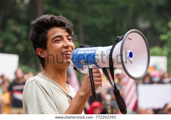 A Dreamer activist speaks at a rally to protest president Donald Trump's decision to end DACA in Downtown Portland, Oregon, on September 5th, 2017.