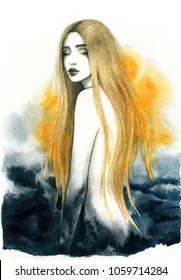 Dreamer. beautiful woman. fashion illustration. watercolor painting