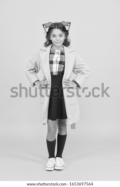 Dreaming about fame. Become popular. Celebrity child. Star concept. Fame and popularity. Popular schoolgirl. Carnival costume famous celebrity. Cheerful girl wear eyeglasses. Cool kid celebrity.