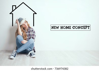 Dreaming concept. Young lady moving in new house