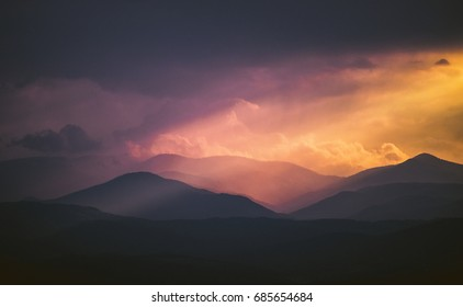 Dreamy and Colorful sunset over the mountains