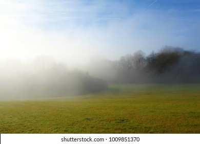 Dreamy and Foggy green meadow. Vltava, Czech Republic, Czech landscape