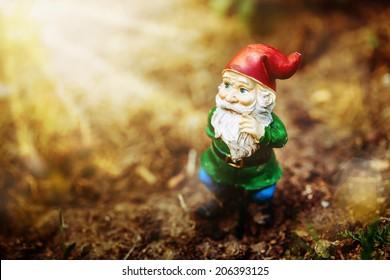 Dreamy garden dwarf in sun light