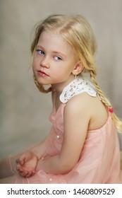 dreamy little girl studio portrait