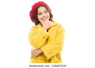 Dreamy mood. Dress up like fashion girl. Kid little cute girl smiling face posing in hat isolated on white. Fashionable beret accessory for female. Spring fashion. Fashion accessory for little kids.