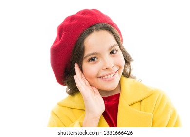 Dreamy mood. Fashionable beret accessory for female. Spring fashion. Fashion accessory for little kids. Dress up like fashion girl. Kid little cute girl smiling face posing in hat isolated on white.