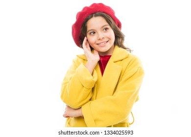 Dreamy mood. Fashionable beret accessory for female. Dress up like fashion girl. Kid little cute girl smiling face posing in hat isolated on white. Spring fashion. Fashion accessory for little kids.