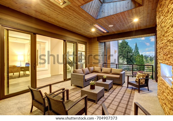 Dreamy Outdoor Covered Patio Stone Fireplace Stock Photo Edit Now