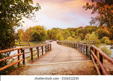 dreamy scenery at isar river, Flaucher bridge at dawn. popular recreational area munich, upper bavaria