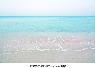 Dreamy soft paradise beach with crystal clear water, winter in Formentera, Balearic islands, Spain.