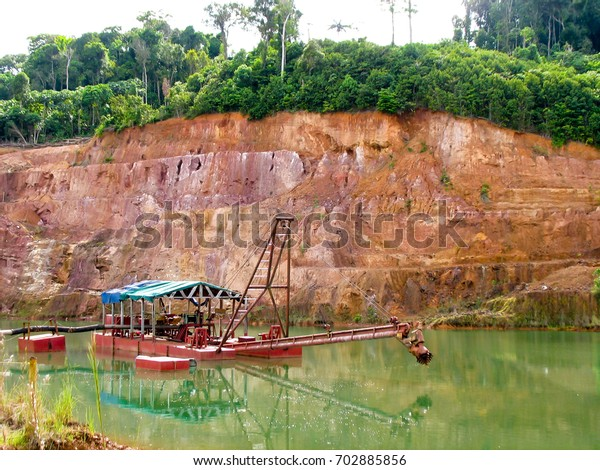 Dredge Ship On Water Gold Mining Stock Photo (Edit Now