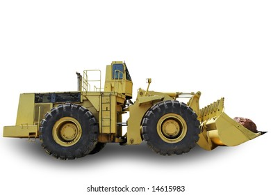 Dredger with shadow isolated on white background