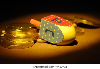 Dreidel and Gelt - Hanukkah Related Objects - Jewish