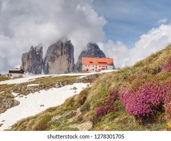Dreizinnenhutte, Italy. May 26 2018.  Tourist chalet and restaurant with gorgeous to Tre Cime di Lavaredo.