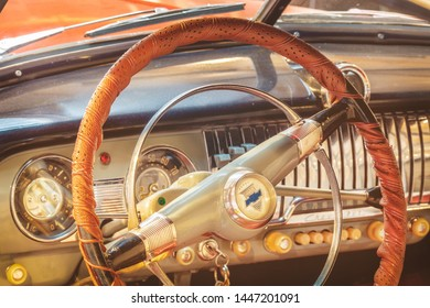 Drempt, The Netherlands - February 2, 2019: Interior with steering wheel of a vintage Chevrolet car in Drempt, The Netherlands