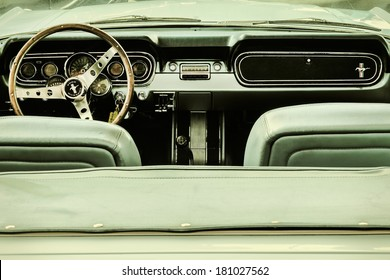 DREMPT, THE NETHERLANDS - MARCH 7, 2014: Retro styled image of the interior of a first generation Ford Mustang Convertible