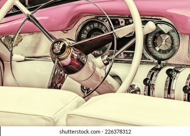 DREMPT, THE NETHERLANDS - OCTOBER 7, 2014: Retro styled image of the interior of a fifties Buick Century Convertible in Drempt, The Netherlands