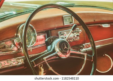 DREMPT, THE NETHERLANDS - SEPTEMBER 6, 2018: Car interior of a 1955 Mercedes-Benz 300 series 300 C car in Drempt, The Netherlands