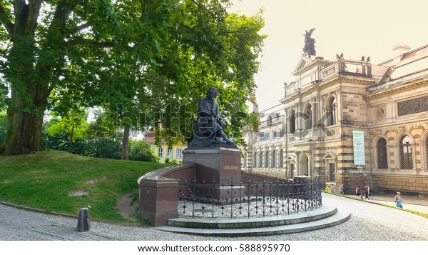 Dresden-  August, 2016- The statue is located in the park near the river Elbe, Saxony, Germany.