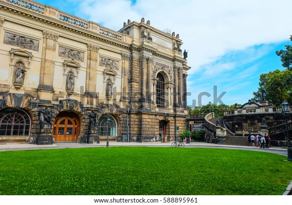Dresden- August, 2016- Tourist visit and walk in Dresden old town- Saxony, Germany.