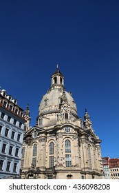 The Dresden Frauenkirche with blue sky , Dresden, Germany