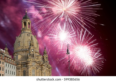 Dresden Frauenkirche ( literally Church of Our Lady)and holiday fireworks-- is a Lutheran church in Dresden, Germany