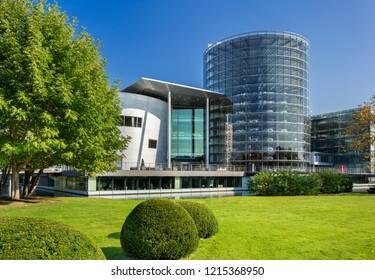 Dresden, German - October 17, 2018: The Transparent Factory (German: Gläserne Manufaktur) is an exhibition space owned by the German carmaker Volkswagen.