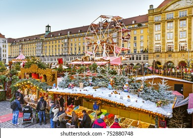 DRESDEN, GERMANY - 08 Dec 2016: Christmas market Striezelmarkt