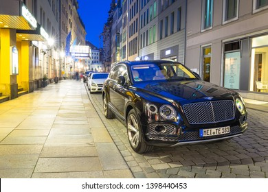Dresden, Germany - April 19, 2019: New Bentley Bentayga parked on the street of Dresden, Germany. The Bentley Bentayga is crossover SUV marketed by British car manufacturer Bentley