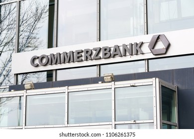 DRESDEN, GERMANY - APRIL 2 2018: Commerzbank AG banking and financial services company logo on branch building on April 2, 2018 in Dresden, Germany.