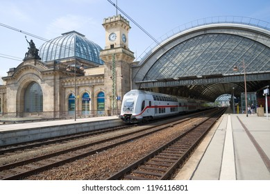 DRESDEN, GERMANY - APRIL 29, 2018: Modern passenger train at the platform of the main railway station