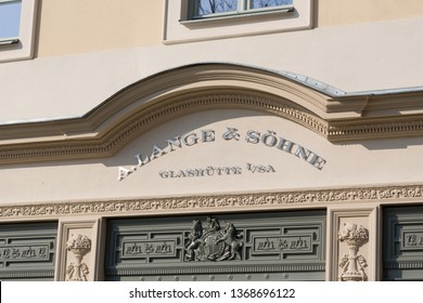 "DRESDEN, GERMANY - April 8, 2019: Writing / sign above the A. Lange & Söhne Boutique in Dresden. ""A. Lange & Söhne"" is a brand of the watchmanufactorer Lange Uhren GmbH, located in Glashütte, Germany."