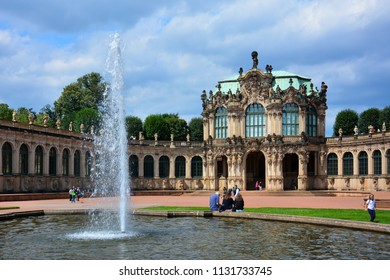 Dresden / Germany — August 11, 2013: the Zwinger palace, a baroque royal palace turned into the museum complex containing the famous Gemaldegalerie Alte Meister (Old Masters Picture Gallery)