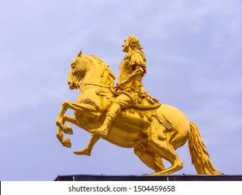 Dresden, Germany - August 15, 2019: The Goldener Reiter (Golden Rider) in Dresden, Saxony. Germany.