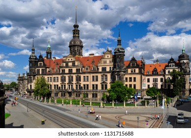 Dresden / Germany — August 8, 2011: the Dresden Castle (the Royal Palace, or Residenzschloss) seen from the terrace of Zwinger palace