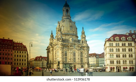 DRESDEN, GERMANY circa 2016: Street views in Dresden historic center with Frauenkirche Cathedral church. Dresden is the capital city of the Free State of Saxony.