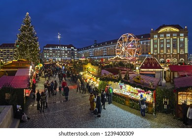 DRESDEN, GERMANY - DECEMBER 6, 2017: Striezelmarkt - one of Germany's oldest documented Christmas markets. This market event was first mentioned in 1434.