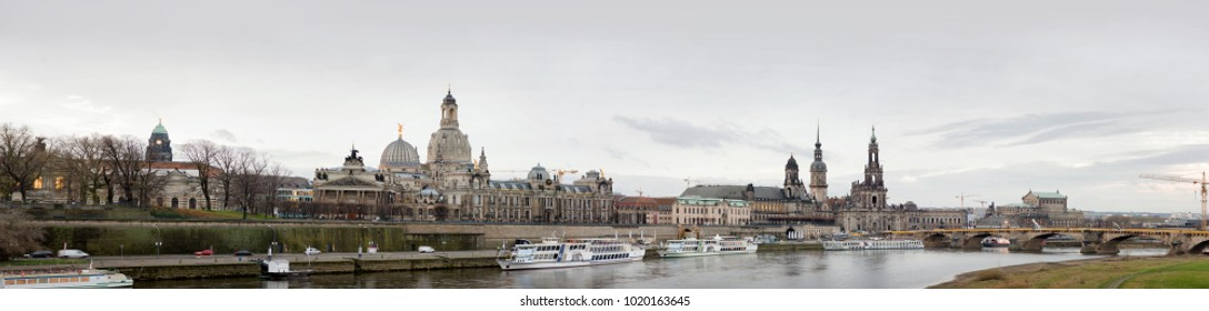 Dresden / Germany - December 8 2017: Panoramic view of Dresden ancient buildings along Elba river.