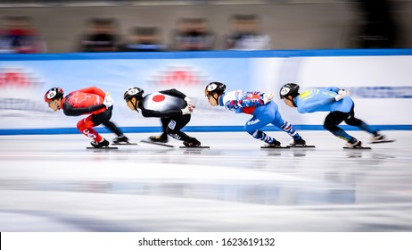 Dresden, Germany, February 03, 2019:  speed skaters competes during the ISU Speed Skating World Cup at the EnergieVerbund Arena in Dresden, Germany.
