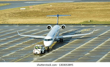 Dresden, Germany - February 12, 2018: An Bombardier  CRJ900 aircraft of Lufthansa subsidiary Lufthansa Regional is ready for take-off at Dresden International Airport.