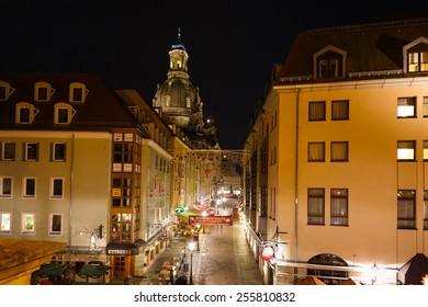 Dresden, Germany, January 06 2015: View of Munzgasse, one of the most popular pedestrian streets of Dresden at night time