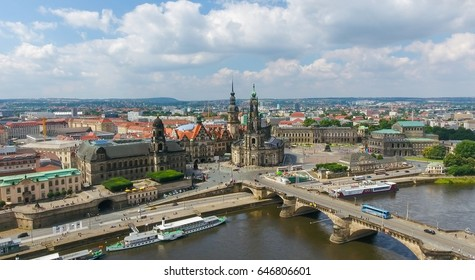 DRESDEN, GERMANY - JULY 16, 2016: Aerial view of Altstadt. Dresden is a famous city attraction in Saxony.