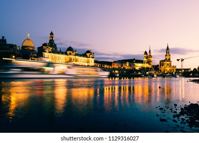 Dresden, Germany - July 6, 2018: Dresden Old Town architecture with Elbe river embankment at night,  Saxony, Germany.