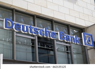 DRESDEN, GERMANY - JUNE 10, 2017: Deutsche Bank AG bank sign,  is a German global banking and financial services company, with its headquarters in the Deutsche Bank Twin Towers in Frankfurt.