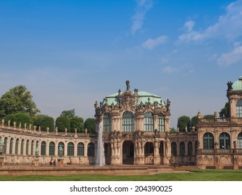 DRESDEN, GERMANY - JUNE 11, 2014: Dresdner Zwinger palace designed by Poeppelmann in 1710 as orangery and exhibition gallery completed by Gottfried Semper with the addition of Semper Gallery in 1847