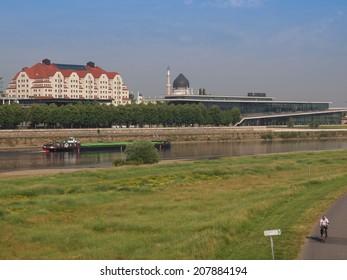 DRESDEN, GERMANY - JUNE 11, 2014: Elbe River in Dresden in Saxony Germany